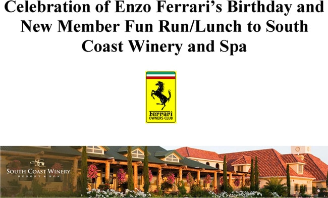 Enzo Birthday Ride & Drive – February 21st.